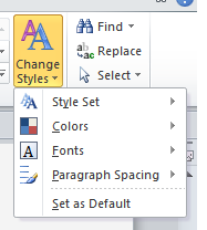Screenshot of the Change Styles option in Word for Windows