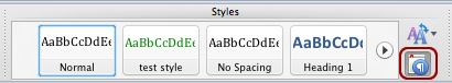 Screenshot of the Manage Styles option