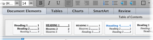 Screenshot of the table of contenst options in Word for Mac.