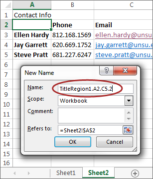 screenshot of New Name dialog with correct info entered to match table