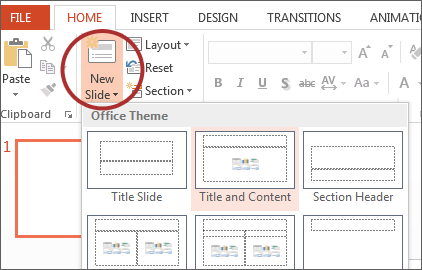 Microsoft powerpoint 2013 windows screenshot of new slide button on microsoft ribbon toneelgroepblik Gallery