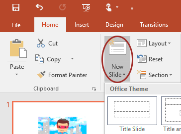 Screenshot of the New Slide menu options on the default PowerPoint toolbar