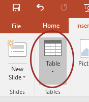 screenshot of selecting Table on the Insert ribbon