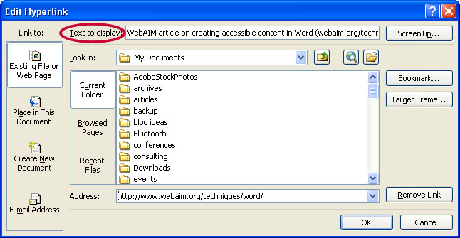 Screenshot of the Edit Hyperlink menu, highlighting the Text to Display field.