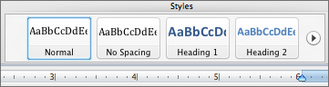 screenshot of heading options in Styles toolbar