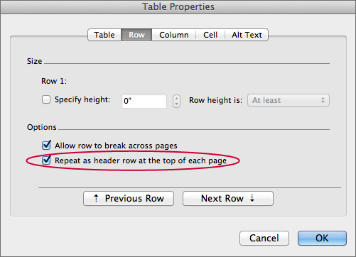screenshot of selecting correct options in Table Properties window