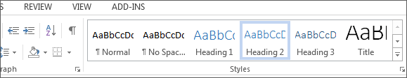 screenshot of Headings under Styles in Microsoft ribbon.