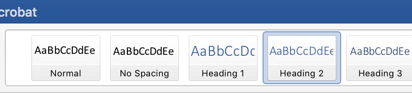 screenshot of heading options in Styles ribbon