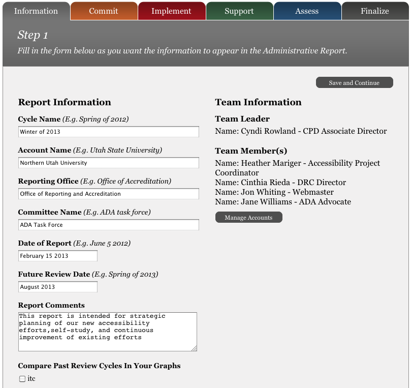 Screen shot of the first step to generate the GOALS Administrative Report